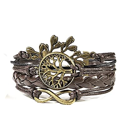 HITOP Jewelry Mens Womens Leather Bracelet, Vintage Leaves Life Tree Charm Bangle, Brown