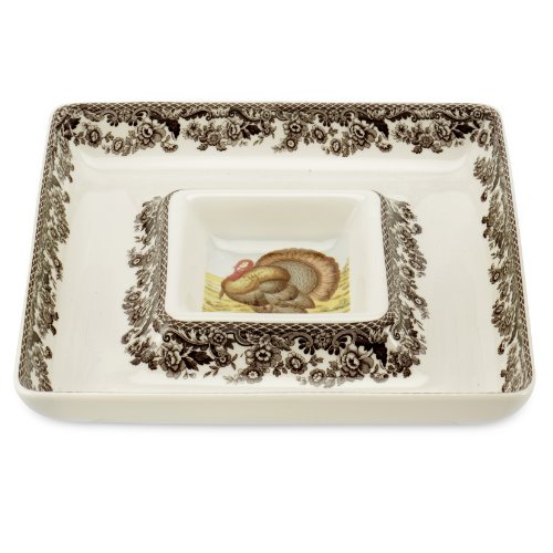 - Spode Woodland Turkey Square Chip and Dip Serving Set