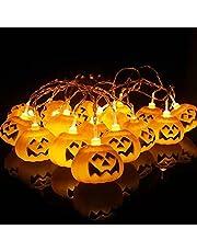 Eastor Halloween Pompoenverlichting, 20 leds, werkt op batterijen, decoratie pompoenen, sprookjesverlichting, griezelige Halloween-verlichting voor feestjes, patio, binnen en buiten