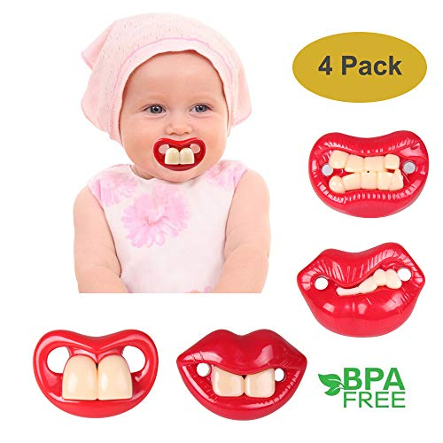 Baby Funny Pacifier Big Buck Teeth, 4 Pack Maberry Soft Silicone Cute Sexy Pacifier Design Teether Toys for Newborn Infant Toddler, Perfect Baby Shower Gift for Boys Girls - BPA Free (4 Pack)
