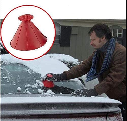 Mosa Store 2 Pack Cone-Shaped Round Windshield Ice Scraper Magic Scraper Car Windshield Snow Scrapers, Magic Funnel Snow Removal Shovels Tool (Black+Red)
