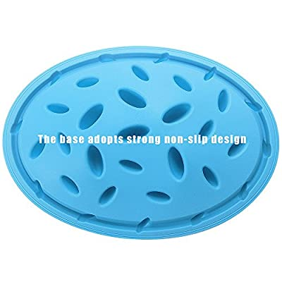 Titan Forest Adventure Design Dog Bowl Anti-chocking & Slow Food Dog Bowl - Silicone Pizza Design & Interesting Training Feeder - The Weight-loss Pet Bowl, Non-slip Base, Blue