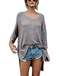 Womens Long Sleeve Blouse Casual Loose Knit Pullover Sweater Tops