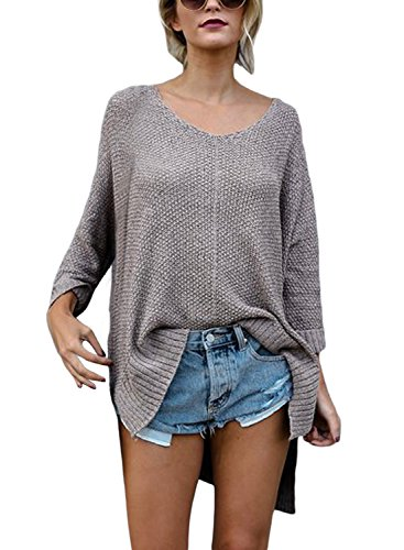 ZKESS Womens Long Sleeve Blouse Casual Loose Knit Pullover Sweater Tops Coffee M ()