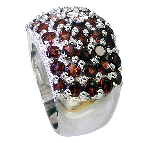 55Carat Round Cut Cluster Setting Genuine Garnet Sterling Silver Ring Handmade Size 4,5,6,7,8,9,10,11,12