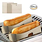 Toaster Bags, Reusable and Non-stick Toaster Bags for Grilled Cheese, Pack of 12