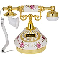 Kmise 502 Retro Vintage Style White Rose Flower Ceramic Antique Telephone Desk Phone Living Room Decor
