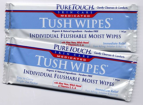 Puretouch Feminine Wipes - PureTouch MEDICATED Tush Wipes for adults 24 Individual Flushable Moist Wipes/ 6 boxes144 Single-Use-Packets