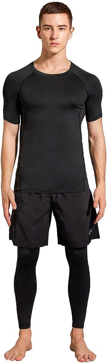 3pcs Men's Compression Active Baselayer Sets-Long Pants Short Sleeve Shirt & Loose Shorts