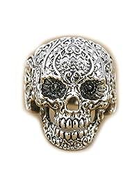 Solid 925 Sterling Silver Mens Skull Biker Punk Ring 8V001 Us Size 7 to14 (10)