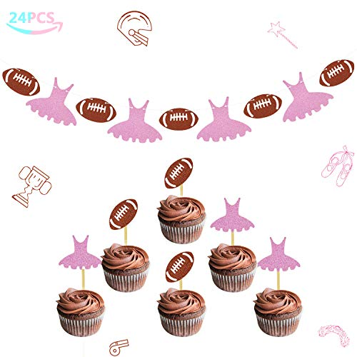 Touchdowns or Tutus Banner Gender Reveal Cupcake Toppers Glitter Baby Shower Party Supplies Decorations Kit 24 -