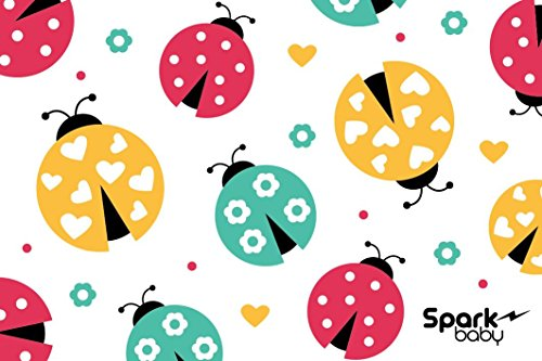 LadyBugs Disposable Placemats Individually Folded for Kids Babies Children Toddlers 50 Count. 4 Adhesive Sticky Sides …