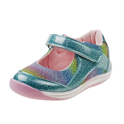 Laura Ashley Girls Metallic Mary Jane Shoes with Sequins and Rhinestone Bow (Toddler) (10 M US Toddler, Blue Multi)' -