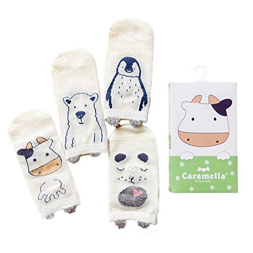 Huluwa Baby Socks 4 Pack Unisex Newborn Cartoon Soft Cotton Socks, Breathable and Anti-Skid (0-12 Months (Sock Length: 4.7