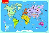 World Map Poster for Kids 13 x 19 inch by ImageNCraft with Colorful Design and Images Perfect for Kids, Students, Parents,Teachers and More!