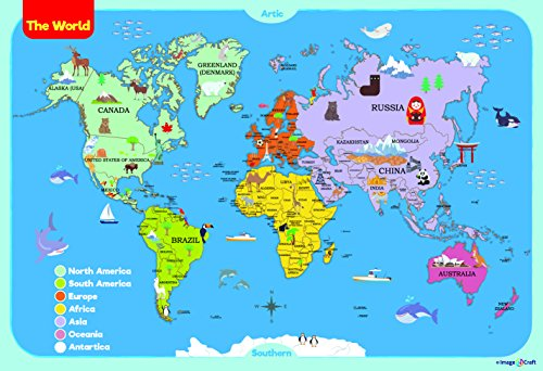 World Map Poster for Kids 13 x 19 inch by ImageNCraft with Colorful Design and Images Perfect for Kids, Students, Parents,Teachers and More! by ImageNCraft