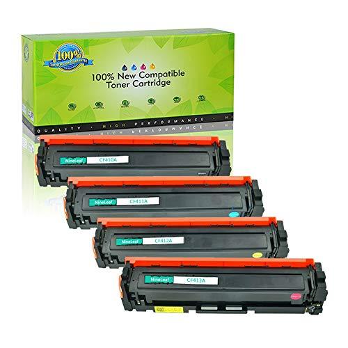 (NineLeaf Compatible Toner Cartridge Replacement for HP 410A CF410A CF411A CF412A CF413A Black Cyan Magenta Yellow for HP Color Laserjet Pro MFP M477fdn M477fdw M477fnw M452dn M452nw M452dw Printer)