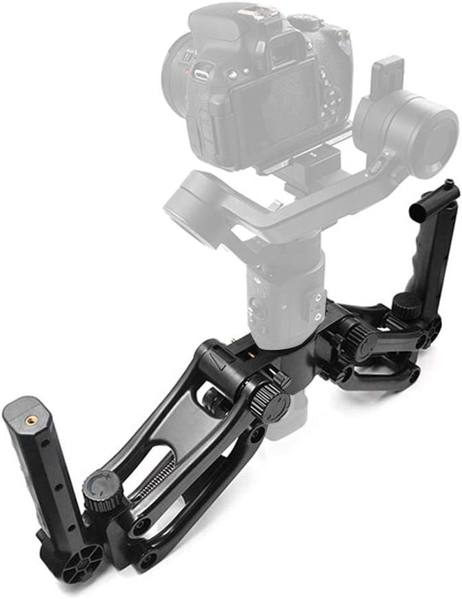 Serounder 4 Axis Handheld Gimbal Stabilizer,Shockproof Dual Handle Grip Camera Handlebar Gimbal Photography Stabilizing Holder Bracket Support Camera DV LED Light,Microphone,Monitor for DJI Ronin S