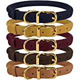 BronzeDog Rolled Leather Dog Collar Durable Round Rope Collars for Small Medium Large Dogs Puppy Cat Burgundy Mustard Dark Blue Light Brown (Neck Size 11' - 14', Mustard)