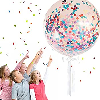 """Monilon Confetti Balloons, 6 Pcs 36"""" Jumbo Giant Latex Balloon Paper Balloons Crepe Paper Filled with Multicoloured Confetti for Wedding,New Years Eve Party, Birthday Party, Christmas & Decoration"""
