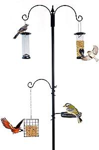 Nature's Rhythm Deluxe Bird Feeding Station Bird Feeders for Outside - Multi Feeder Pole Stand Kit with 3 Bird Feeders