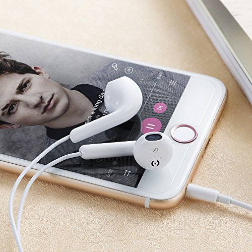 Premium Quality Earphones/Earbuds/Headphones with Stereo Mic and Remote Control Fully Compatible with iPhone iPad iPod Android Smartphones and Other Devices with 3.5mm Jack Plug(2 Pack White). by VOWSVOWS (Image #5)