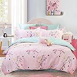 Brandream Kids Bedding Sets for Girls Bedroom Pink Cartoon Duvet Cover 100% Cotton Queen Size 3Pcs(1 Duvet Cover+ 2 Pillow Shams)