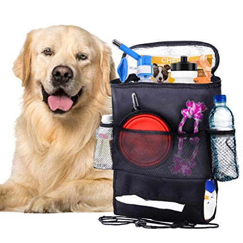 - SunGrow Pet Travel Organizer Bag - Spacious Bag That Secures Pet Travel Essentials - Fits with All Cars - No More Leaks in Car - Space Saver Waterproof Dog and Cat Bag - Easy to Clean