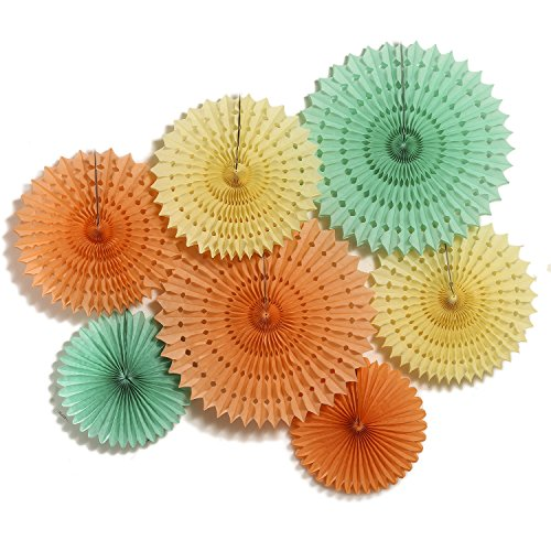 Shimmer Fan (Ling's moment Paper Fans Decorations, Paper Fans Hanging, Vintage Style Party Fans, Set of 7 Fans - ( Yellow, Orange, Mint)