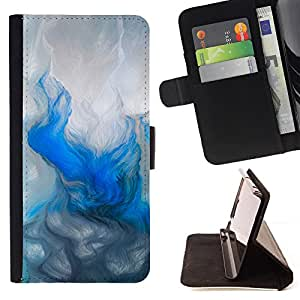 - Blue Watercolor Painting Winter - Estilo PU billetera de cuero del soporte del tir???¡¯???3n [solapa de cierre] Cubierta- For Apple Iphone 5C ( Devil Case )