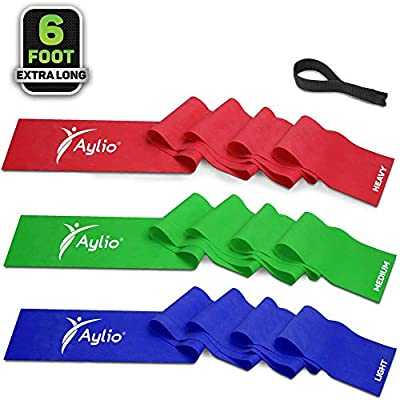 Aylio 3 Exercise Bands and Door Anchor for Fitness, Physical Therapy, Pilates Workout, Stretch (6 Feet Long)
