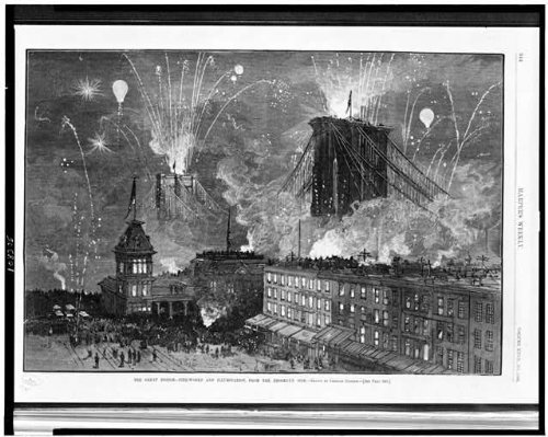 Photo: Brooklyn Bridge,New York, NY Fire-works, Graham 1883