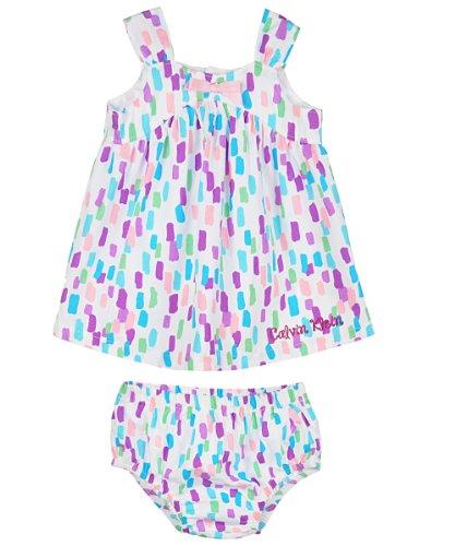 Calvin Klein Baby-Girls Newborn Printed Dress with Panty, Multi, 6-9 Months