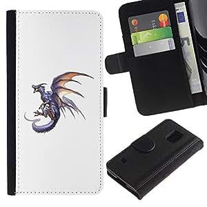 Paccase / Billetera de Cuero Caso del tirón Titular de la tarjeta Carcasa Funda para - Dragon Grey Fire Flying Wild Mythical Animal - Samsung Galaxy S5 V SM-G900