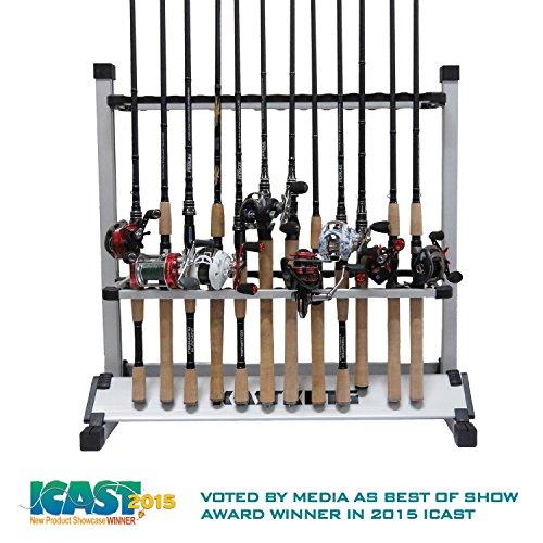 KastKing Beanspruchen Sie sie oben Angelruten-Halter - 2015 ICAST Best of Shw Award Winner - beweglicher Aluminium Angelrute Racks [Upgraded 2016 Modell mit neuer Verpackung] - 24-Rutenhalter für alle Arten von Angelruten und Combo / 12-Rutenhalter für Süßwasser-Ruten (24 Rods Rack SilverBlack)