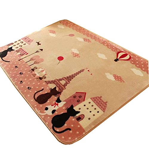 Newcreativetop Cute Cats and Cartoon House Carpet Eiffel Tower Area Rugs Anti-Skid Dining Room Home Bedroom Carpet Floor Mat 51