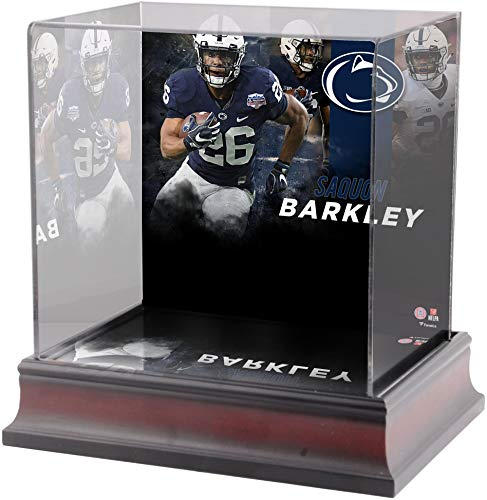 Penn State Nittany Lions Memorabilia - Sports Memorabilia Saquon Barkley Penn State Nittany Lions Deluxe Mini Helmet Display Case - College Mini Helmet Free Standing Display Cases
