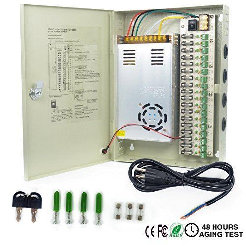 LETOUR DC Power Supply 18 Channel Port Output 12V 360W CCTV Electrical Box Distributed Power Supply Box with AC Power Line and Key (18CH 30A 360W)