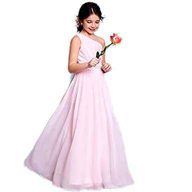 63be75af1ab Amazon.com  yuanbaokj Flower Girls Chiffon one Shoulder Long Dresses Beaded  Waist Homecoming Party Gowns  Clothing