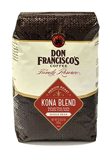 Don Francisco's Kona Gradate, Premium 100% Arabica Coffee Beans, Floral Aroma, Medium Roast, Whole Beans, Family Reserve, 32-Ounce Bag