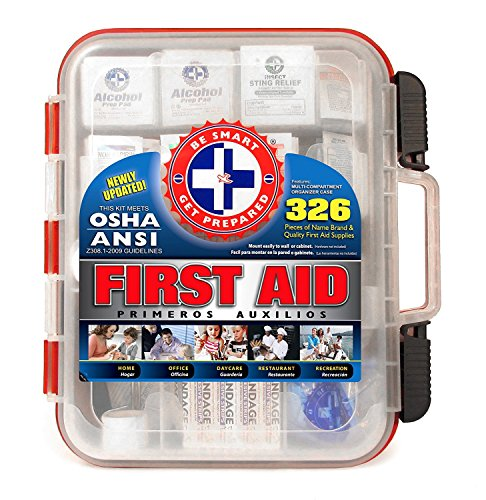 (First Aid Kit Hard Red Case 326 Pieces Exceeds OSHA and ANSI Guidelines 100 People - Office, Home, Car, School, Emergency, Survival, Camping, Hunting, and)
