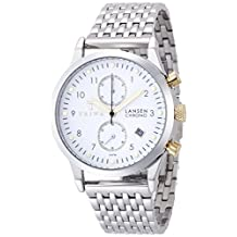Triwa Ivory Lansen Chrono Unisex Watch White Dial with Stainless Link Band and Gold Accents LCST106 BR021212