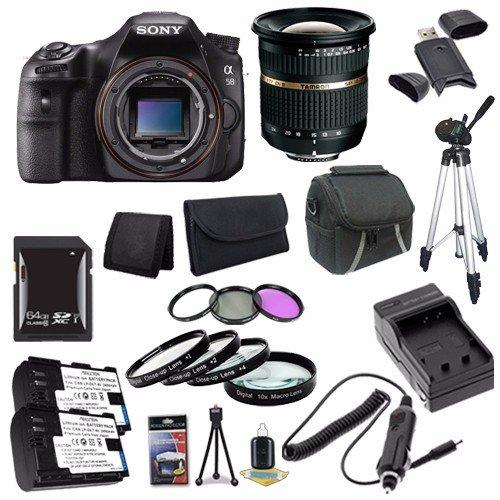Sony Alpha a58 20.1 MP CMOS Digital SLR Camera (Body) + Tamron SP AF 10-24mm Zoom Lens + NP-FM500H Battery + External Charger + 64GB SDXC Card + Case + Tripod + Saver Bundle 2 - International Version (No Warranty)