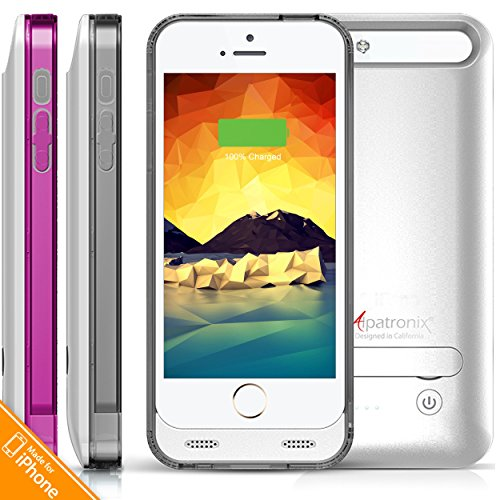 UPC 857940004502, iPhone 5S Battery Case, iPhone 5 Battery Case, Alpatronix® [BX120 - MFi Apple Certified] 2400mAh External iPhone 5s/5 Charger Case Removable Rechargeable Protective iPhone 5S Charging Case [Ultra Slim Portable iPhone 5 Charging Case / Full Compatible Support with iOS 9+ & Apple Pay / iPhone 5S Extended Battery Case / Lightning Connector Output / No Signal Reduction / Fits all colors for iPhone5S & iPhone5 for Juice Bank & Power Pack] - (Silver with 1 Extra Purple Bumper)