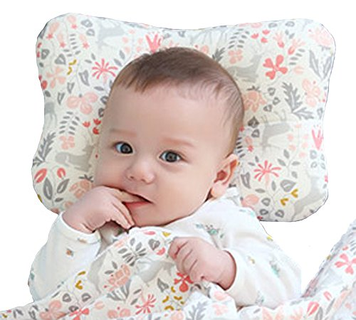 Baby Pillow For Newborn Breathable 3-Dimensional Air Mesh Organic Cotton, Protection for Flat Head Syndrome Bambi Pink LIMITED EDITION
