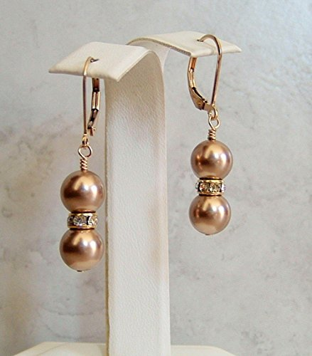 Champagne Beige Round Simulated Pearl Gold Filled Leverback Earrings Made With Swarovski Gift Idea