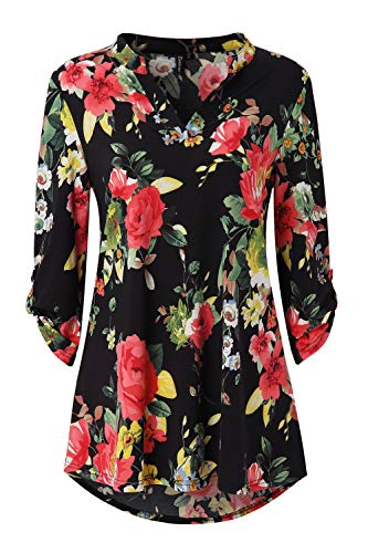 (Zattcas Womens Tunic Tops 3/4 Roll Sleeve Notch Neck Casual Blouse Shirts,Black-1,Large)