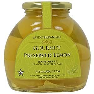 Meditteranean Gourmet Preserved Lemons (All Natural lemons preserved in brine) 17 oz.