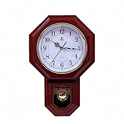 CutePaw Newest Style 18'' Round Wooden Pendulum Wall Clock With Seconds Decorated for Room/School/Office