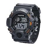 Siviki Men's Quartz Digital Sports Watches LED Military Silicone Waterproof Wristwatche (Gray)